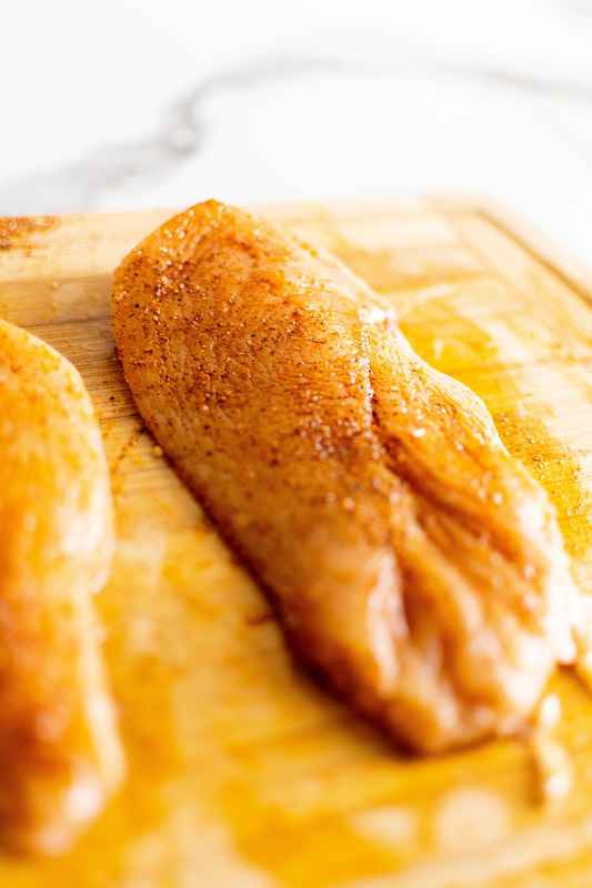chicken breast rubbed in spices